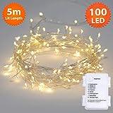 WeihnachtsBeleuchtung, Feen Lichter 100 LED Warmweiß Micro Cluster Saiten Leuchten innen und außen verwenden Batterie angetrieben-5M/16ft beleuchtete Länge Silber Kabel