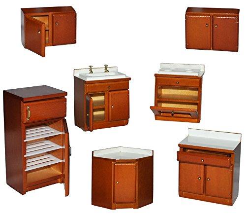 7 tlg. Set: Küche / Küchenmöbel aus dunklem Holz – Miniatur – Schrank + Spühle + Hängeschränke + Herd + Eckschrank + Kühlschrank mit Gefrierfach – Puppenstubenmöbel für Puppenstube Maßstab 1:12 – Puppenhaus Puppenhausmöbel Küche – Puppenstubenmöbel Kirsche
