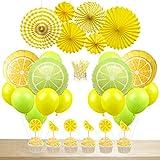 JOYMEMO Décorations de Fête Citron Limonade Ballons Pailles en Papier Gâteau Cake Topper Fans de Papier Suspendus pour Fête d'anniversaire Fête Prénatale