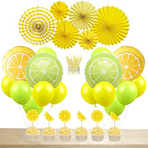 JOYMEMO Zitrone Partydekorationen Limonade Luftballons Papierstrohe Cake Topper hängen Papier Fans für Sommer Geburtstag Party Baby Shower