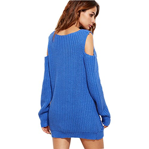 Pull Long Maille Femme Pull Tunique Oversize Manches Longues Col V Ample Chaud Hiver Epais Pull Robe Habillé Sweater Loose Large Tricot Chandail Jumper Tops Automne Bleu