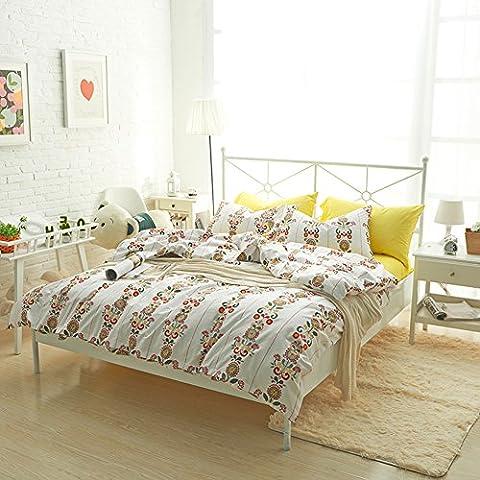 Sonnenblumen Betten Sets Weiß–memorecool Haustierhaus 100% Baumwolle reaktiver Druck Heimtextilien gelb Bettlaken Twin Bettbezug keine Tröster 40Fäden Zählen, Flower and Flat, Twin