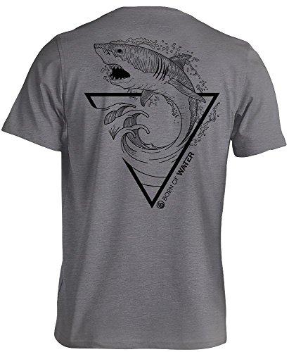 Born of Water Great White Shark Hemd: Mens CVC Mischung: Freitauchen | Tauchen Speerfischen - 2XL (Guy Harvey-t-shirt)