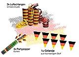 XXL Deko Dekoration Set Fanartikel Deutschland Tischdeko Tischdekoration 20x Servietten, 15 x Bierdeckel, 3x Partypopper, 1x Girlande Wimpelkette, 2x Klatschstangen, 3x Luftschlangen - 2