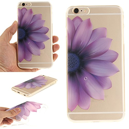 Ooboom® iPhone 6S/6 Hülle Handy Tasche Transparent TPU Silikon Ultra Dünn Schlank Schutzhülle Case Cover für iPhone 6S/6 - Pinguin Lila Blume