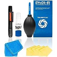 Phot-R Professional Cleaning 10-in-1 macchina fotografica per le fotocamere reflex digitali (Canon, Nikon, Pentax, Sony) comprende la pulizia dell'aria penna ventilatore pulizia lenti documento panno in microfibra tessuta flacone spray tampone