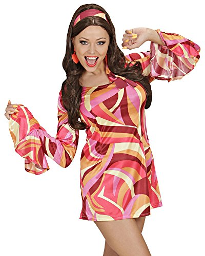 Lady Pink Kostüm Schuhe - 70er Jahre Lady Damen Hippie Retro Kostüm - Partykleid Pink Gr. S