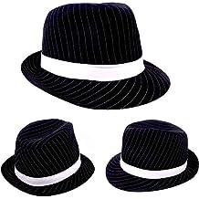 Karneval Fasching Hut Mütze Kopfbedeckung Black and White Gangster Hut NEU