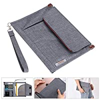BSTKEY Multifunction A5 Documents Bag - Files Organizer Portfolio Case Notepad Carrying Bag Portable Bag Notepad Carrying Case for Travel Office Conference Business (Grey)
