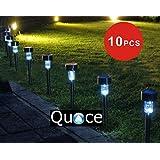 Quace Set Of 10 Garden Solar Lights For Pathway Ambient Lighting, Black
