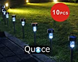 #4: Quace Set of 10 Quace Garden Solar Lights for Pathway Ambient Lighting,Black