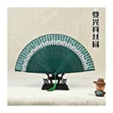 JUNHONGZHANG 2PCS Ventaglio Pieghevole Giapponese Ventaglio Stampa Vento Cinese Adatto per La Decorazione Domestica (22 Cm), Verde