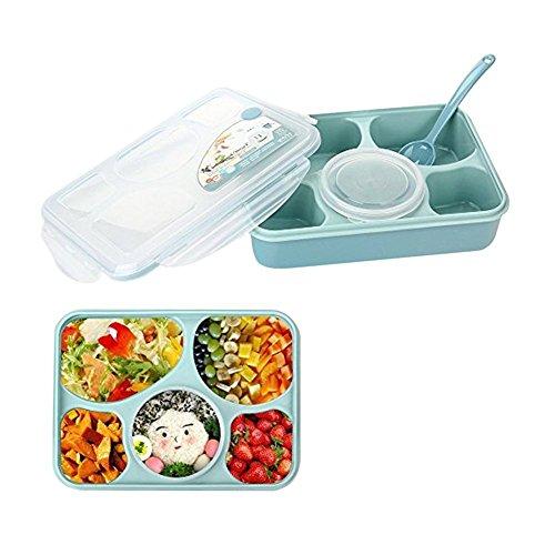 Fiambrera Caja de Almuerzo Recipiente hermeticos de comida-Guizen 5 en 1Compartimentos a Prueba de Fugas Libre de BPA Lunchbox para Niños y Adultos Azul