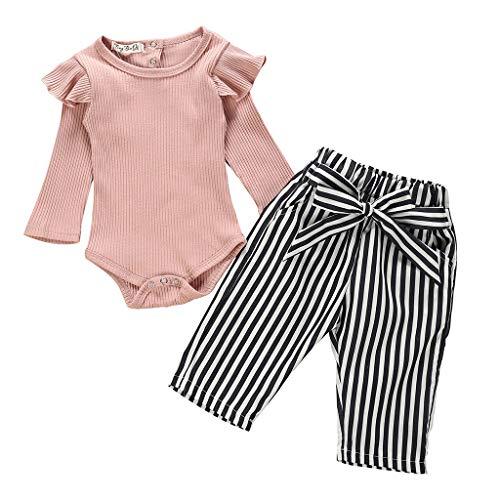 LEXUPE Neugeborene Kinder Baby Mädchen Outfits Kleidung Strampler Bodysuit + Streifen Lange Hosen Set(Rosa-A,90)