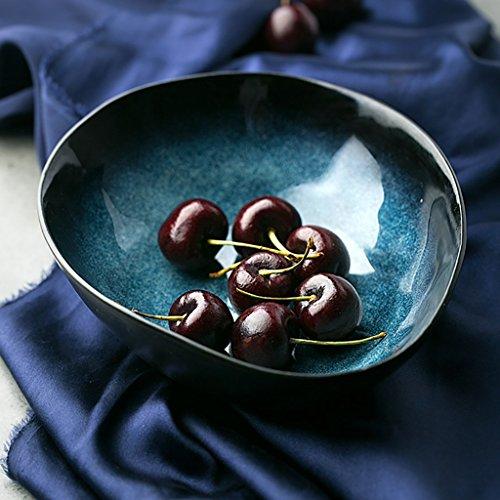 Yxsd Bol créatif en Forme de Bleu, Bol de Riz en céramique irrégulière, 20cm