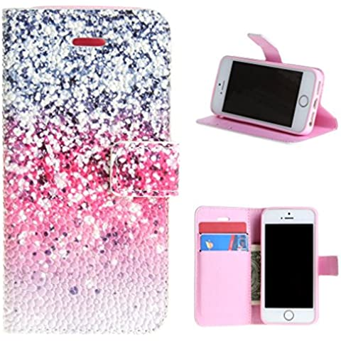Per iphone 5 , ivencase Bello Snowflake Modello Pallacanestro Struttura Closure PU Cover in Ecopelle With Built-in Media Stand and Porta Carte Credito Flip Magnetico Portafoglio Protectiva Custodia Case Cover Per Apple iphone 5 5S - Pallacanestro Carta