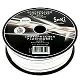 Lautsprecherkabel FLACH 2x1,5mm² - weiss - 100m Spule - CCA - Audiokabel - Boxenkabel