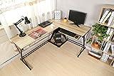 HLC Mesa de ordenador con bandeja para teclado y PC,161 cm Escritorio amarillo
