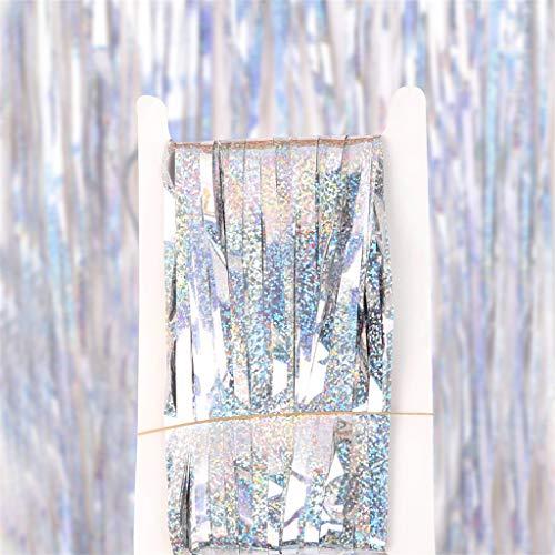 Coconano Vorhänge Funkelnd Silber Fadengardine Fadenvorhang Verdunklungsvorhänge Schiebevorhänge - 100x300 cm(Silber)