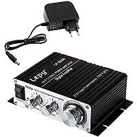 LEPY LP- 2020A + HIFI (2 x 20W) Amplificador Audio para MP3 MP4 Amplificador Estereo para Telefono Ordenador DAC y etc Negro + Fuente de Alimentacion de CA Adaptador de Cargador DC 13.5V 3A