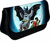 PERSONALISED LEGO BATMAN AND ROBIN ZIPPED PENCIL MAKEUP CASE SCHOOL DS BAG (black)