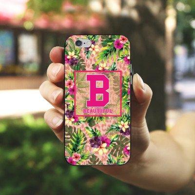 Apple iPhone X Silikon Hülle Case Schutzhülle College Beautiful Blumen Silikon Case schwarz / weiß