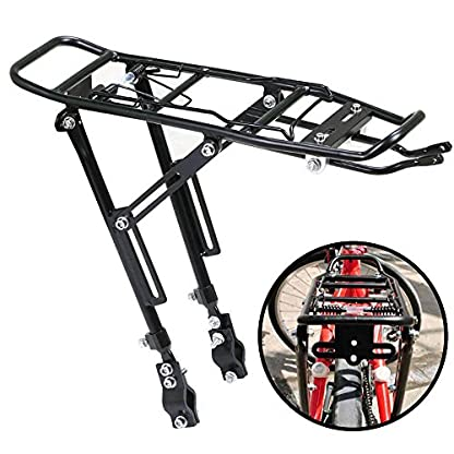 Xpork Alloy Bicycle Carrier Rack Black Rear Cargo Protect Pannier Seat Bag Luggage Package Trunk Cycle Mountain Bike Touring Outdoor 1