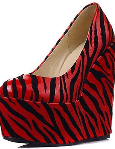 WSS 2016 Chaussures Femme-Habillé / Décontracté / Soirée & Evénement-Noir / Rouge / Blanc-Talon Compensé-Compensées / Talons / A Plateau / Bout white-us8.5 / eu39 / uk6.5 / cn40