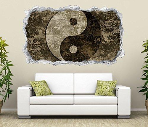 3D Wandtattoo Yin & Yang Symbol Feng Shui Zen Wand Aufkleber Durchbruch Stein selbstklebend Wandbild Wandsticker 11N816, Wandbild Größe F:ca. 140cmx82cm