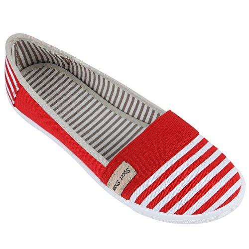 Sportliche Damen Ballerinas | Freizeit Slipper | Bequeme Flats | Stoffschuhe Slip-ons | Sneakers | Denim Prints Glitzer Rot Weisse Streifen