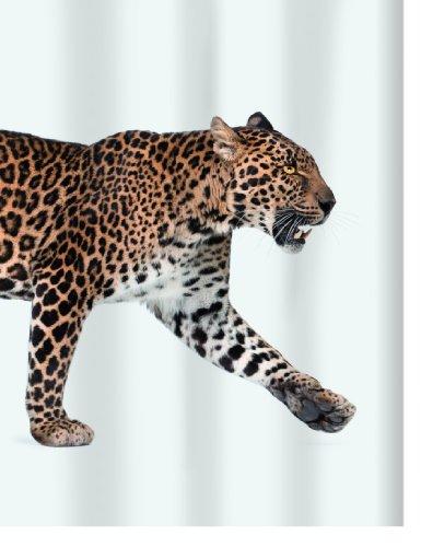 Spirella 10.16405  Textil-Duschvorhang 180 x 200 cm, Leopard Beige-Black