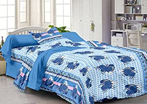 Story@Home 120 TC 100% Cotton Blue 1 Single Bedsheet with 1 Pillow Cover