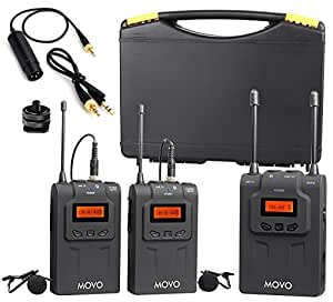 movo wmic80 uhf wireless lavalier microphone system with 2 bodypack transmitters portable. Black Bedroom Furniture Sets. Home Design Ideas