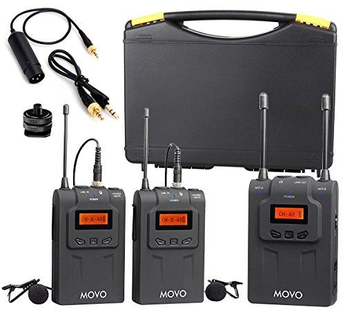 Movo wmic80Lavalier Sistema de micrófono inalámbrico UHF con 2transmisores de petaca, portátil receptor Lav, 2micrófonos, y soporte de zapata para cámaras réflex digitales (330'gama)