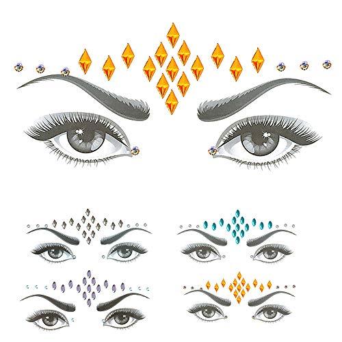 Amphia - Strass Meerjungfrau Aufkleber für Gesicht Augen Körper - Juwelen Aufkleber Gesicht Strass Tattoo Körper Glitter Edelstein Für Festival Parties Shows Make-Up Haut Kunst (4 Stück)