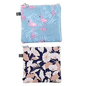 Sanitary Napkins Bag Zippered Tampons Collect Bags Pouch Organizer Waterproof Napkins Nursing Pad Holder for Women and Girls Flower Flamingo Style 2Pcs