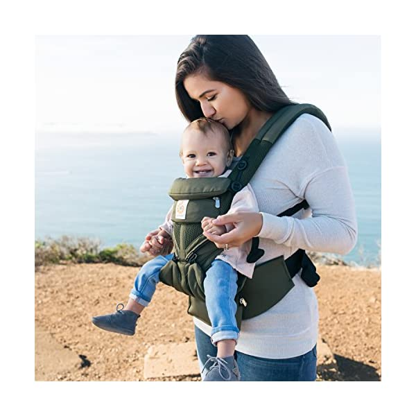 Ergobaby Baby Carrier for Newborn up to 3 Years, 360 Cool Air Khaki Green, 4 Ergonomic Carry Positions Front Back Front Facing, Backpack Carrier Ergobaby Ergonomic baby carrier for the summer, with 4 ergonomic carry positions: front-inward, back, hip, and front-outward. The carrier is suitable for babies and toddlers weighing 3.2 to 20 kg (7-45 lbs), and can be used as a backpack carrier. No infant insert needed NEW - The waistbelt with lumbar support can be worn a little higher or lower to support the lower back and provide optimal comfort, and has adjustable padded shoulder straps. The carrier is suitable for men and women. Maximum baby comfort - Breathable 3D air mesh material provides an optimal temperature for your baby on warm days. The structured bucket seat supports the correct frog-leg position for the baby. The carrier also has a neck support and privacy hood with 50+ UV sun protection. 3