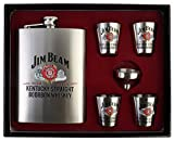 #6: Kairos Jim Beam Stainless Steel 8 Oz/236 ml Hip Flask + 4 Shot Glasses + Funnel