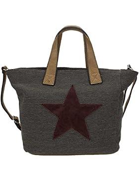 STARBAG MINI - Modischer Canvas Shopper in klein, Stern aus Lederoptik, 34x26x14 (LxHxB)