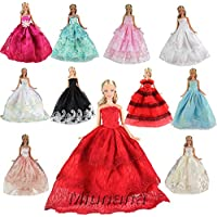 Costume-Random Style 5 Pcs Princess Evening Wedding Party Dress Clothes Gown Outfit For Barbie Doll Xmas Gift