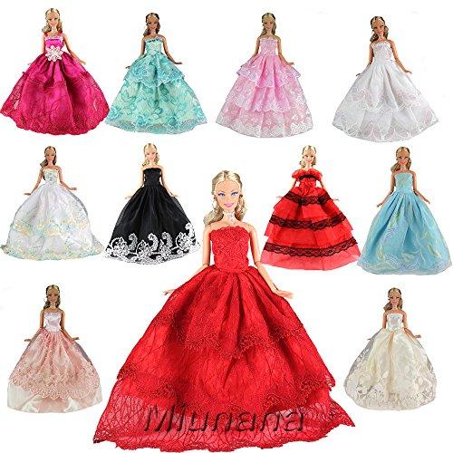 Miunana 5 Hermoso Novia Vestidos de Noche Hechos a mano Ropa Vestir Boda Fiesta + 10 Zapatos para Muñeca Barbie Doll Regalo