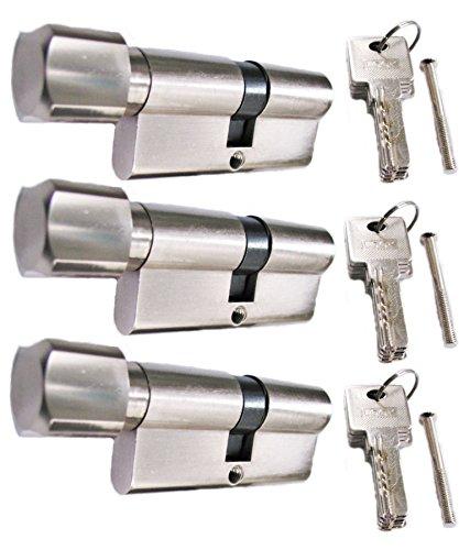 Preisvergleich Produktbild Knaufzylinder in 60 mm (30x30) Schließanlage Gleichschließend 2, 3 oder 4-er Set mit 5 Schlüssel pro Türschloss (3)