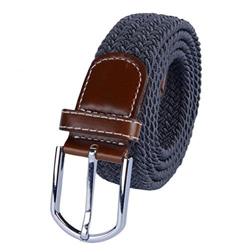 Tinksky Universal trenzado cinturón de estiramiento tejido casual Tejido tejido cinturón elástico para hombres y mujeres con lazo de cuero PU y punta final, regalo para los amigos (gris profundo)