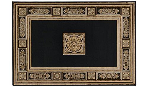 Alfombra estilo clásico negro y oro–Elegante alfombra Salón y Camera sitap Antares 57801–3233, polipropileno, Nero e Oro, Cm.133x195