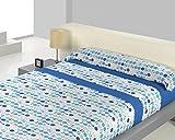 Juego sábanas pirineo TINA Gurugú. Cama 135 cm. Color Azul - Sedalinne