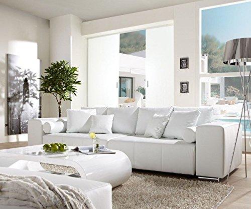 DELIFE Couch Marbeya Weiss 290x110 cm mit Schlaffunktion Big-Sofa