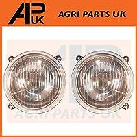 APUK PAIR of HeadLight Headlamp Compatible with Massey Ferguson 550 565 575 590 675 690 698 699 Tractor