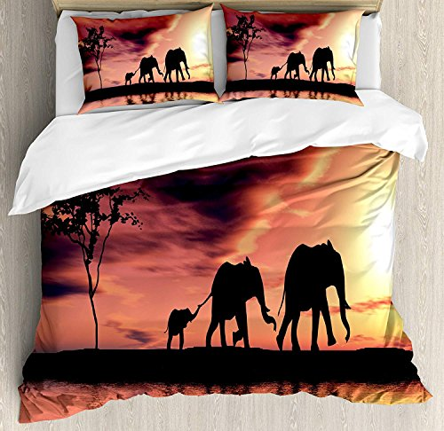 Juego de fundas nórdicas Elephant Decor, tamaño Queen, siluetas de elefantes junto...