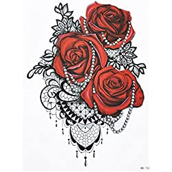 Elegante Rosas Flores Tattoo Rojo y Negro Flash Tattoo Fake Tattoo hb732