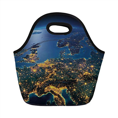 Portable Bento Lunch Bag,World,Continent of Central Europe Night Time View from Outer Space Vivid Planet Decorative,Blue Yellow Emerald,for Kids Adult Thermal Insulated Tote Bags